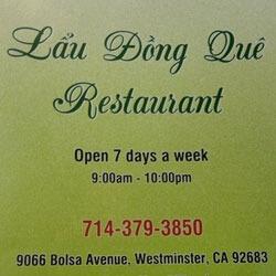 Lau Dong Que Restaurant Little Saigon Vietnamese Westminster 92683